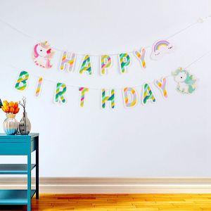 Dây chữ Happy Birthday mẫu Unicorn