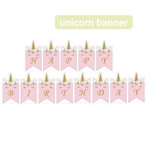 Dây chữ Happy Birthday mẫu Kỳ lân hồng