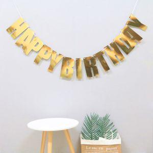 Happy Birthday Laser Banner (vàng/bạc/rosegold)