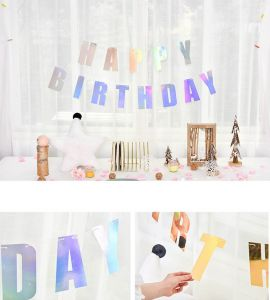 Happy Birthday Laser Banner (vàng/bạc)