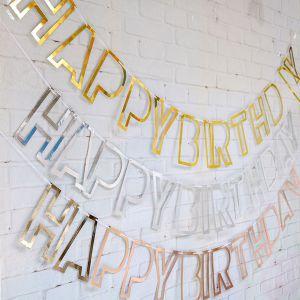 Dây chữ happy birthday kiểu chữ viền (vàng/bạc/rosegold)