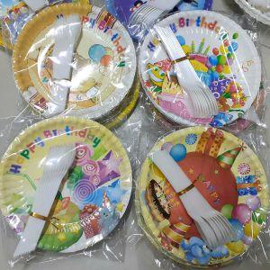 Set 10 đĩa giấy + 10 muỗng ăn bánh kem