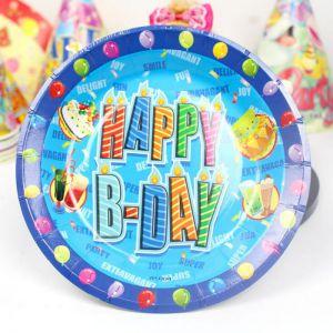 Set 6 đĩa giấy Happy B-day xanh