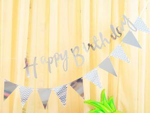 Combo 1 dây chữ Happy Birthday + 1 dây cờ Tam giác ép kim (vàng/bạc)