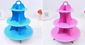 Kệ bánh cupcake 3 tầng chấm bi (xanh/hồng)