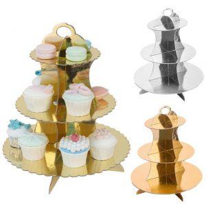 Kệ bánh cupcake 3 tầng ép kim (gold/silver)