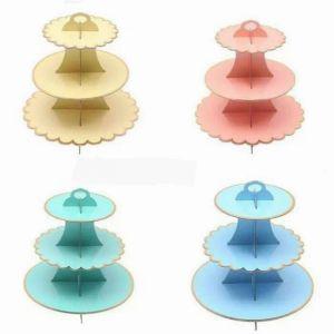 Kệ bánh cupcake 3 tầng màu pastel (có 4 màu)