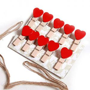 Set 10 kẹp gỗ dây treo hình tim đỏ
