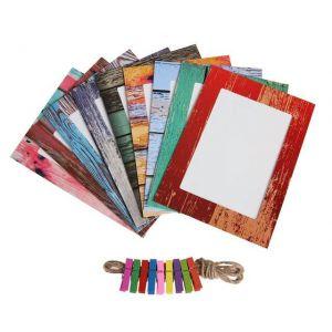 Set 9 khung ảnh dây treo kẹp gỗ mẫu Vân Gỗ Màu