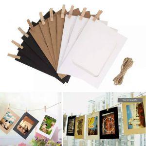 Set 10 khung ảnh dây treo kẹp gỗ vàng-đen-trắng