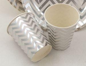 Set 8 đĩa giấy ép kim sọc gãy màu bạc