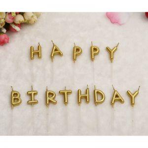 Nến chữ happy birthday tông màu vàng đồng và bạc