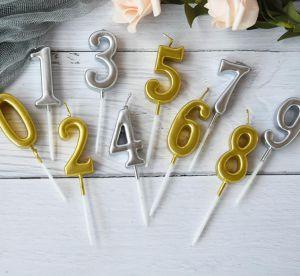 Nến số sinh nhật 0-9 (vàng đồng/bạc)