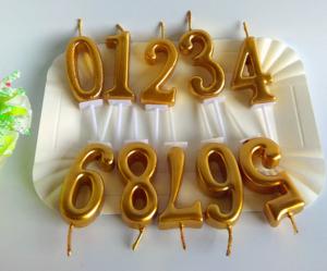 Nến số sinh nhật tông màu vàng đồng (0-9)
