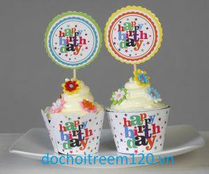Set 12 bọc vỏ + tem bánh cupcake (có nhiều mẫu)
