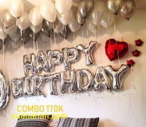 Combo trang trí sinh nhật tông màu Bạc - Đỏ [170K]