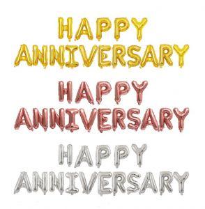 Set bong bóng kiếng chữ Happy Anniversary (vàng/bạc/đen/rosegold)