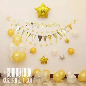 Combo trang trí sinh nhật tông màu Trắng+Vàng Đồng hoặc Đen+Bạc [190k]
