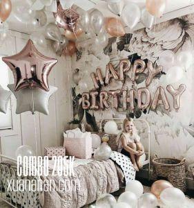 Combo trang trí sinh nhật tông màu Rosegold Silver [205K]