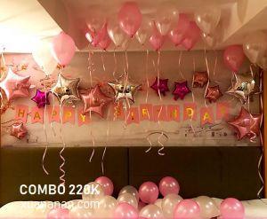 Combo trang trí sinh nhật tông màu Bạc-Hồng [220K]