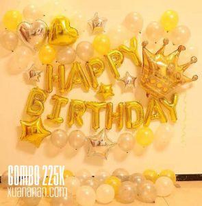 Combo trang trí sinh nhật tông màu Vàng - Bạc [225K]
