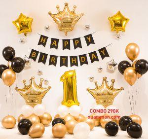 Combo trang trí sinh nhật Gold Black [290K]