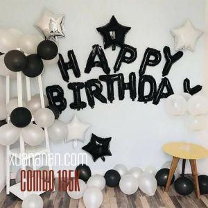 Combo trang trí sinh nhật tông màu đen trắng [195K]
