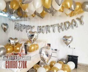 Combo trang trí sinh nhật tông vàng bạc [270K]