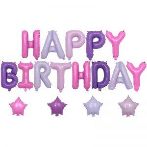Set bong bóng kiếng Happy Birthday hồng tím kèm 4 ngôi sao