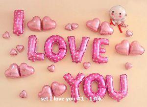 Set I love you #1 bong bóng kiếng trang trí 29 món