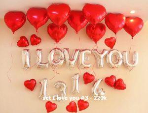 Set I love you #3 bong bóng kiếng trang trí 31 món