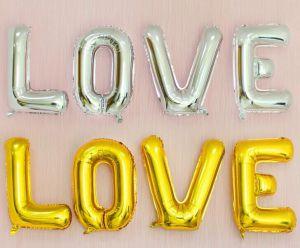 Set bong bóng kiếng chữ LOVE lớn 75cm (vàng/bạc)