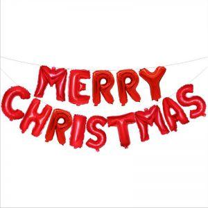 Set bong bóng kiếng chữ Merry Christmas 40cm (vàng/bạc/đỏ)