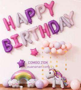 Combo trang trí sinh nhật tông Hồng Tím [210K]