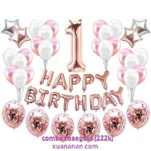 Combo trang trí sinh nhật tông màu Rosegold [222K]