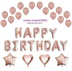 Combo trang trí sinh nhật tông màu Rosegold [152K]
