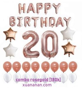 Combo trang trí sinh nhật tông màu Rosegold [180K]