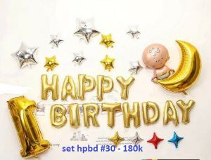 Set bong bóng kiếng trang trí sinh nhật #30 (tặng ống bơm bb)