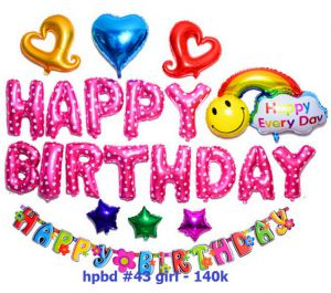 Set bong bóng kiếng trang trí sinh nhật #43 (xanh/hồng)