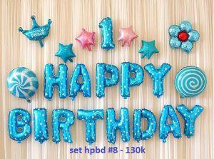 Set bong bóng kiếng trang trí sinh nhật #8 (xanh/hồng)