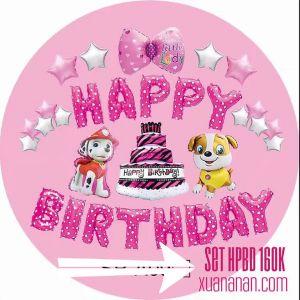 ,M  Set bong bóng kiếng trang trí sinh nhật Chó con + Nơ lớn (Xanh/Hồng)