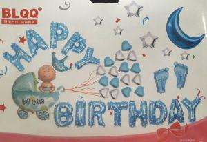 Set bong bóng kiếng trang trí sinh nhật Boy Blue White