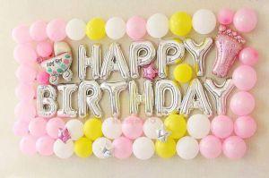Set bong bóng trang trí sinh nhật Silver-Pink