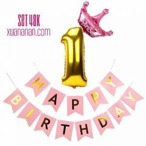 Set trang trí sinh nhật [48K] (hồng/xanh)