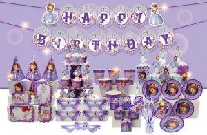 Set trang trí sinh nhật Sofia *tặng 20c bong bóng nhũ tím 25cm