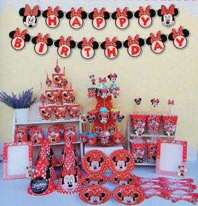 Set trang trí sinh nhật Minnie đỏ *tặng 1 bbk hình Minnie