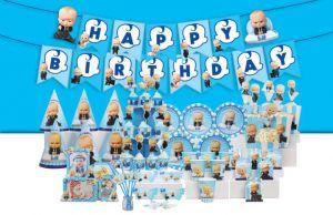 Set trang trí sinh nhật Boss Baby *tặng 20 bong bóng nhũ xanh