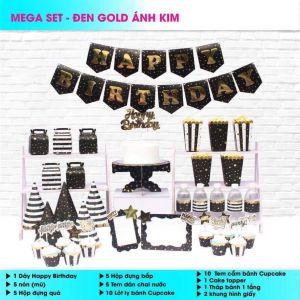 Set trang trí sinh nhật Đen Gold ánh kim *tặng 20 bb tròn nhũ
