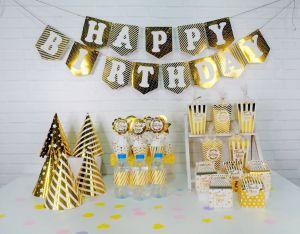 Set trang trí sinh nhật ép kim màu Vàng Gold cực đẹp