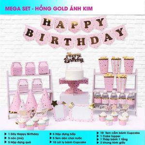 Set trang trí sinh nhật Hồng Gold ánh kim *tặng 20 bb tròn nhũ